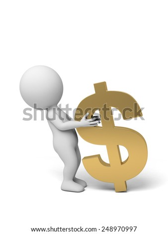 A small person with a dollar currency symbol. 3d image. Isolated white background - stock photo