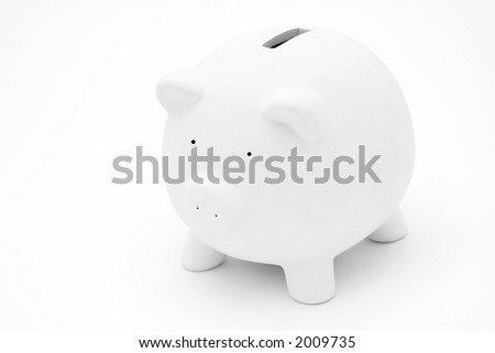 A small piggy bank, isolated on white - stock photo
