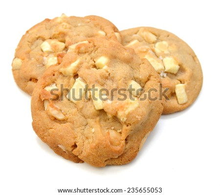 A small stack of macadamia nut and white chocolate cookies.  - stock photo