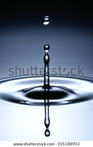A small water drop fall on water surface and jump back before the second one to collide with it. - stock photo