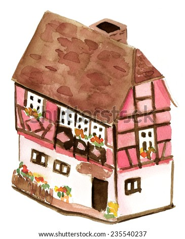 A small watercolour half-timbered house on white background - stock photo