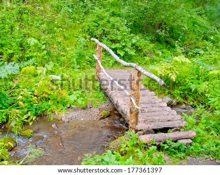 A small wooden foot bridge in a wood across a brook - stock photo