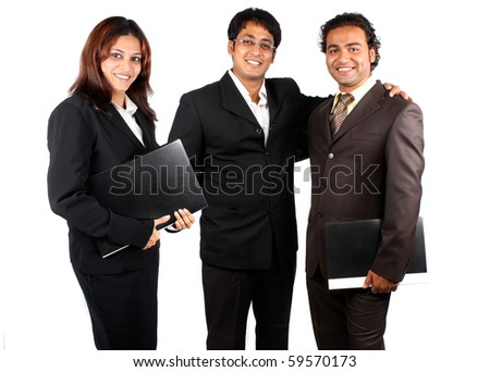 A smart Indian business team happy after a successful presentation, isolated on white studio background. - stock photo