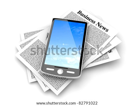A smartphone in the latest business news. 3d rendered Illustration. Isolated on white. - stock photo