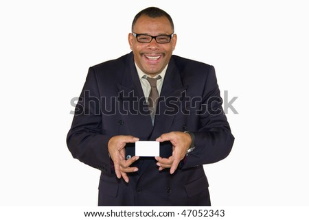 a smiling African-American mature businessman presenting a business card with copy space, isolated on white background - stock photo