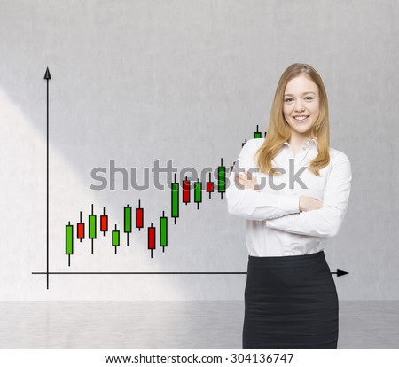A smiling beautiful trader and forex chart with candles. A concept of prosperous portfolio manager. - stock photo