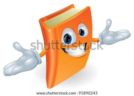 A smiling book cartoon illustration. Education, reading or teaching mascot - stock photo