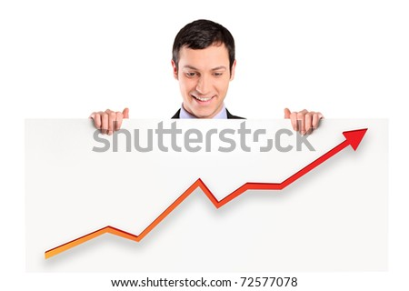 A smiling businessman holding a white panel with a growth graph isolated on white background - stock photo