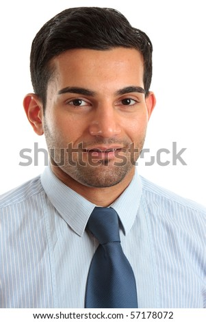 A smiling businessman or other professional occupation.  White background. - stock photo