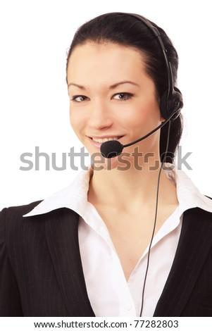 A smiling call customer service girl - stock photo
