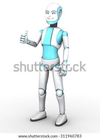 A smiling cartoon robot boy doing a thumbs up with his hand. White background. - stock photo