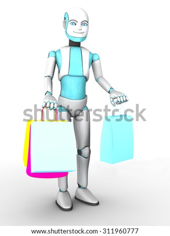 A smiling cartoon robot boy holding shopping bags in his hands. White background. - stock photo