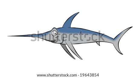 A smiling, cartoon swordfish swimming along in the ocean, or maybe mounted on the wall. - stock photo