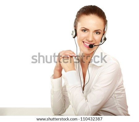 A smiling customer service girl isolated on white background - stock photo