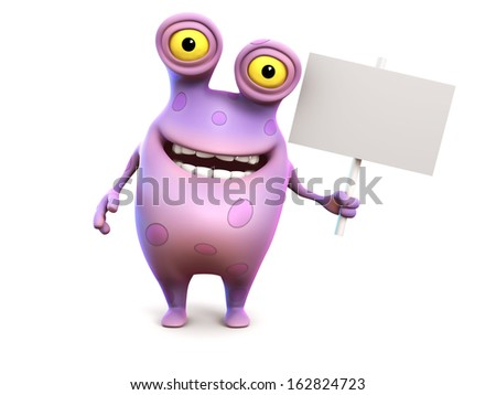 A smiling cute charming pink spotted cartoon monster holding a blank sign in his hand. White background. - stock photo