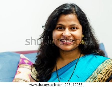 A Smiling Indian Woman Portrait - stock photo