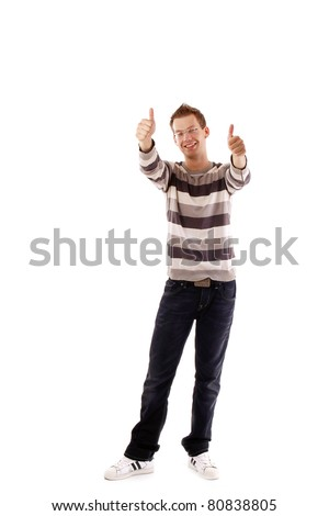 A smiling man showing okay sign with both hands on white background - stock photo
