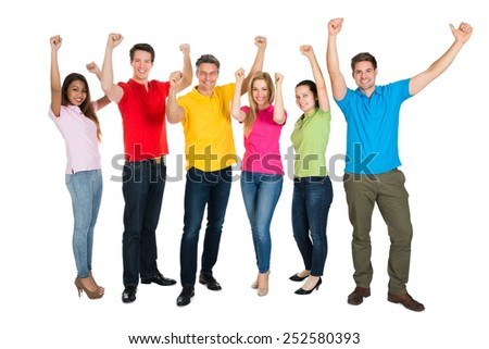 A Smiling Multiethnic Diverse People Cheering Over White Background - stock photo