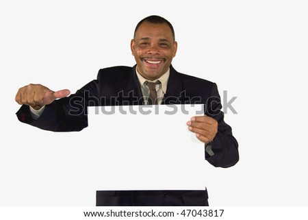 a smiling senior African-American businessman presenting a picture board with copy space and posing with thumbs up, isolated on white background - stock photo