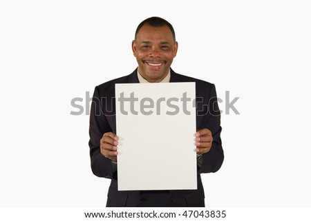 a smiling senior African-American businessman presenting a picture board with copy space, isolated on white background - stock photo