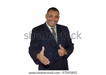 a smiling senior African-American businessman reaching out his hand for a welcoming handshake and posing with thumbs up, isolated on white background - stock photo