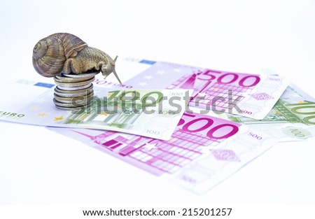 A snail crawling on some banknotes - stock photo