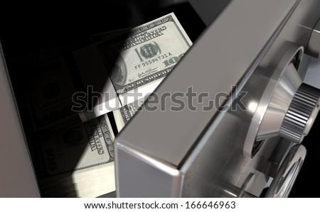 A sneak peak closeup of a slightly open metal safe revealing bundles of US dollar notes inside of it - stock photo