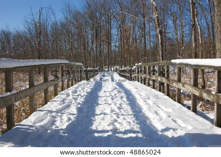 A snow covered trail in the woods - stock photo