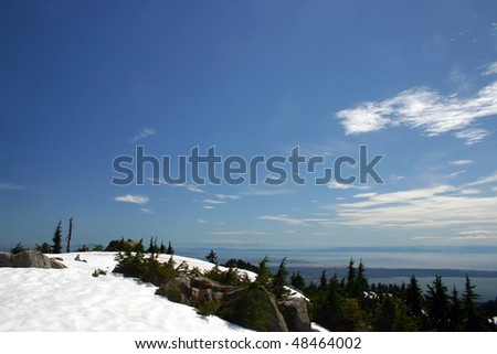 A snow mountain peak view in Vancouver, Canada - stock photo