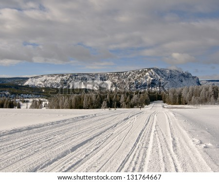 A snow plowed road through the heart of Yellowstone National Park. - stock photo