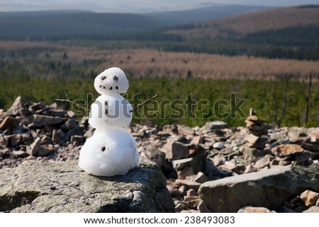 a snowman in front of a green landscape - stock photo