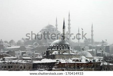 A snowy day in Istanbul, Turkey. - stock photo