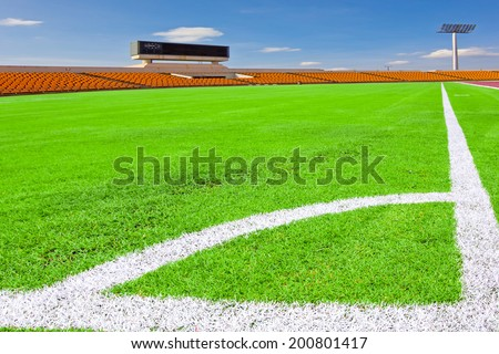 a soccer corner in a large stadium - stock photo