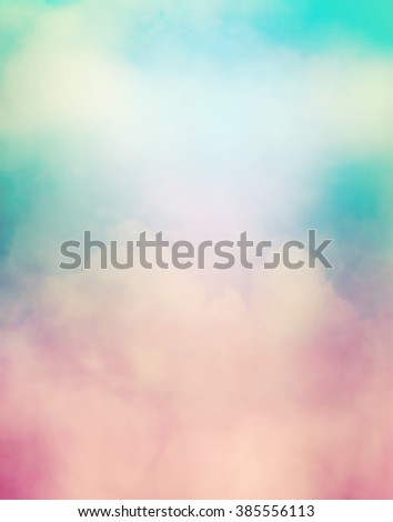 A soft focus abstraction of clouds, fog and subtle bokeh light effects. Image displays a soft, retro look. - stock photo