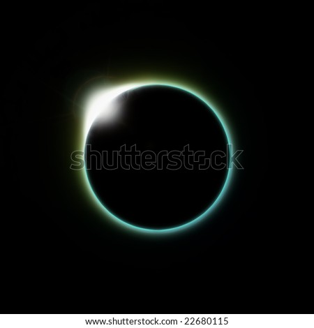 A solar eclipse of the moon as seen from space or the planet earth - stock photo