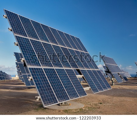 A solar panel field in Tenerife, Canary Islands. - stock photo