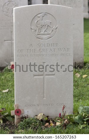 A soldier of the great war - Tyne Cot - Belgium - stock photo