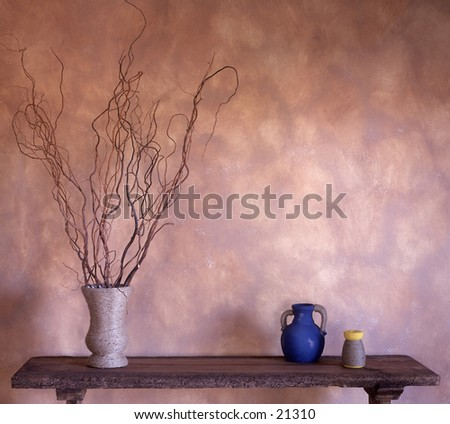 A soothing arrangement of objects created by an interior decorator. - stock photo
