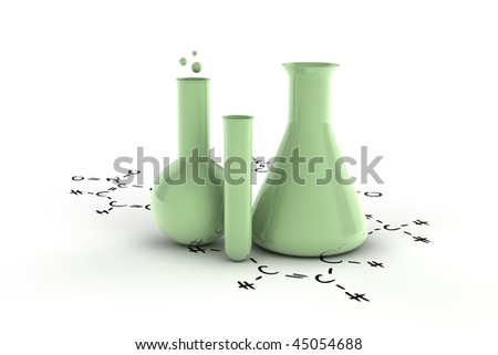 A sort of test tubes on hand written chemical formula - stock photo