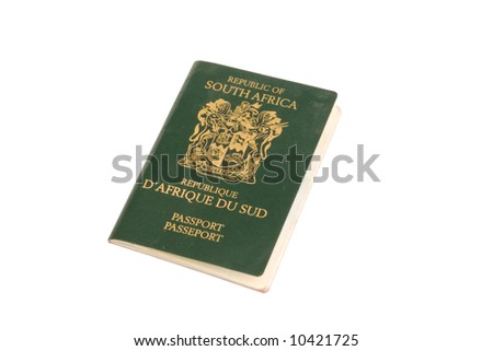 A South African passport on a white background - stock photo
