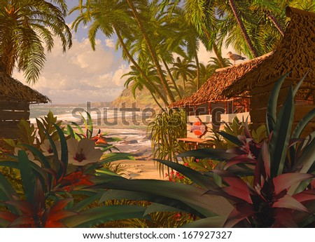 A South Pacific coastline scene, with beach hut, tropical plants and coconut palms. / Polynesian Beach Hut - stock photo