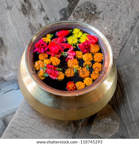 A special container for religious flower offerings to the gods - Bhaktapur, Nepal - stock photo