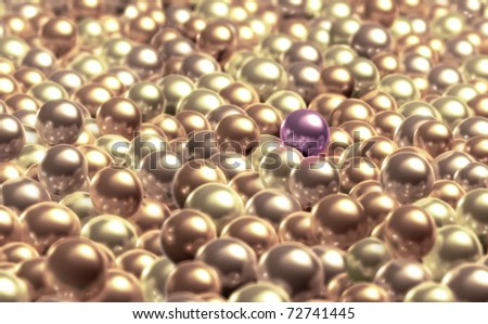 A special pearl is outstanding from a bunch of pearls. - stock photo