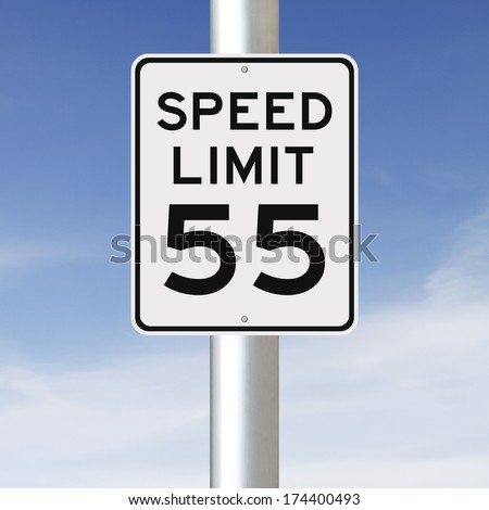 A speed limit sign indicating 55  - stock photo
