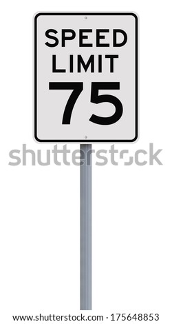 A speed limit sign indicating 75  - stock photo