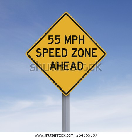 A speed limit warning sign  - stock photo