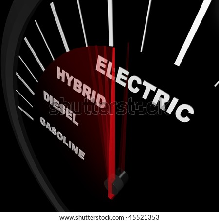 A speedometer with needle passing through Gasoline, Diesel, Hybrid and Electricity words - stock photo