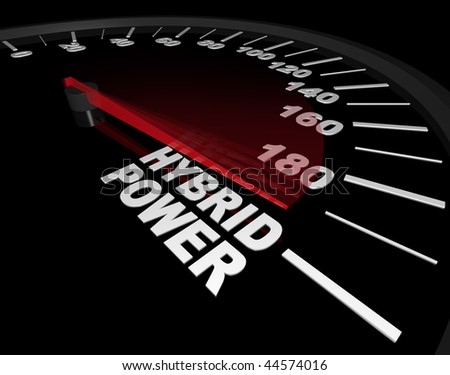 A speedometer with red needle pointing to the words Hybrid Power - stock photo