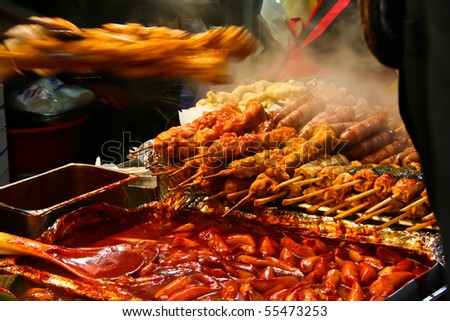 A spicy fast food simply found at local Korean martket, Soul Korea - stock photo