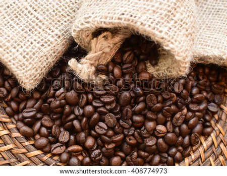 a spilled coffee bag - stock photo